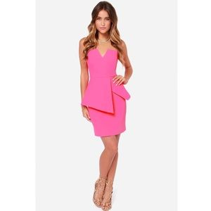 FINDERS KEEPERS NIGHTLIGHT PINK STRAPLESS DRESS
